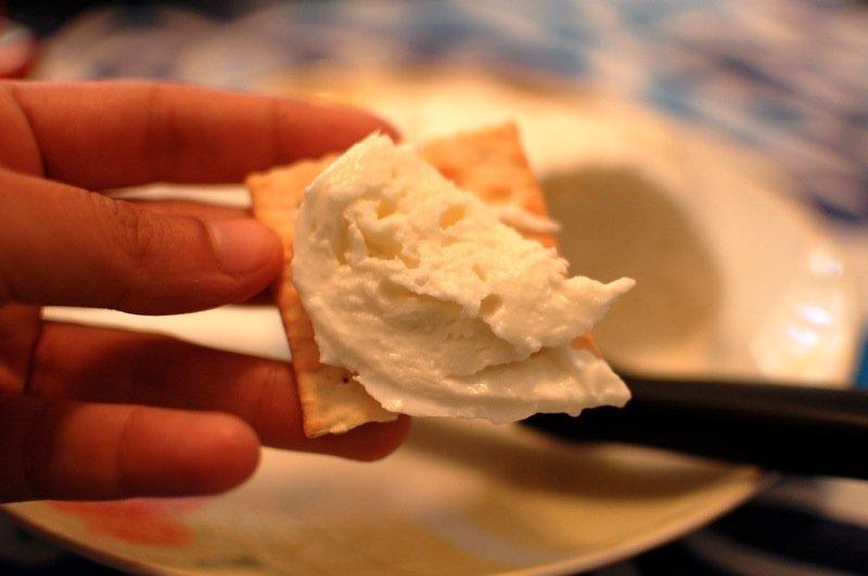 Mozzarella on a cracker