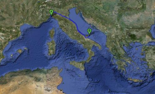 Map: road to Pugnochiuso, Puglia, Italy