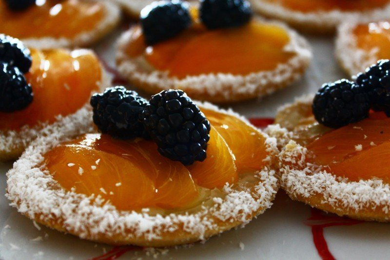 Mandarin and blackberry tart