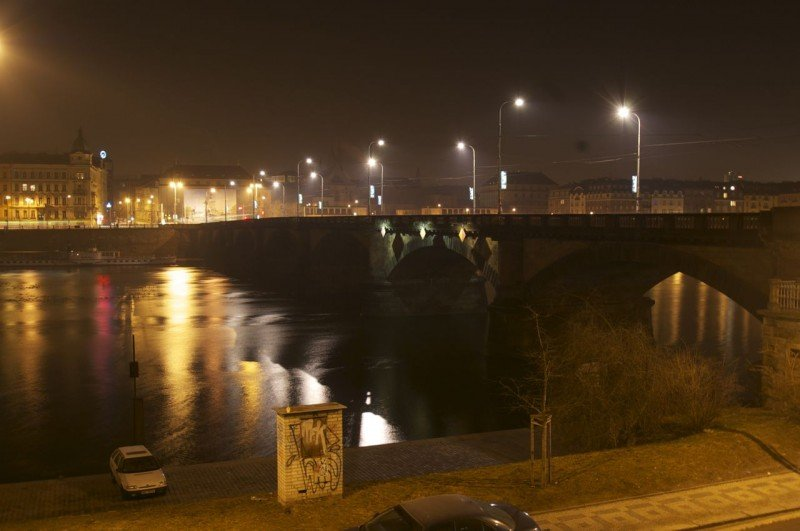 Unknown bridge, Prague by night