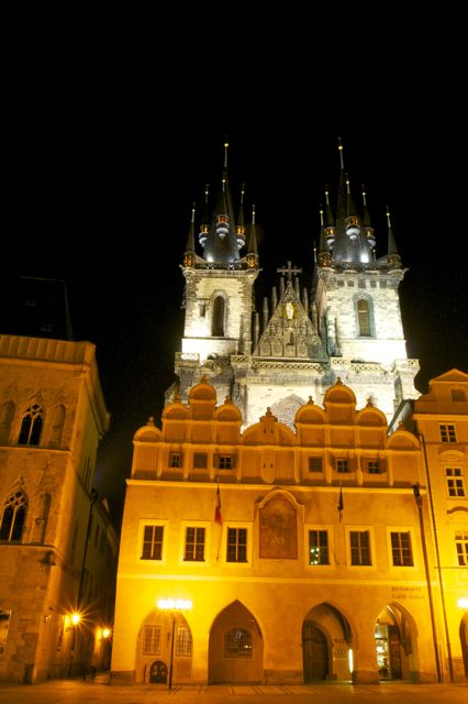Prague - unknown square by night