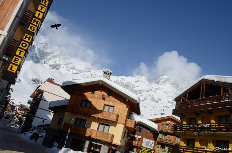 Breuil-Cervinia: the main street, downtown, the mountains around