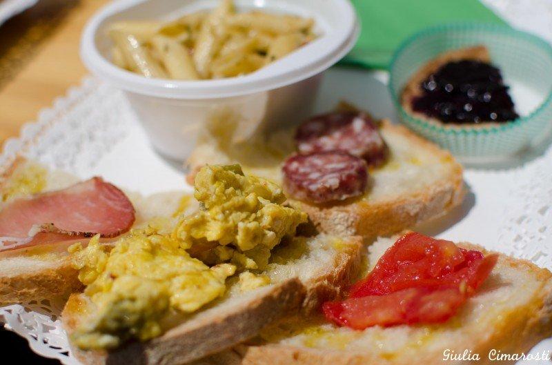 Food at Chiusa Grande: bruschetta, cold cuts, pasta and more