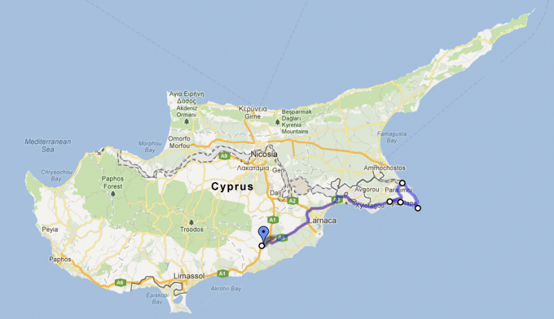 Cyprus road trip, day two: Skarinou to Protaras, Cape Greko and Ayia Napa
