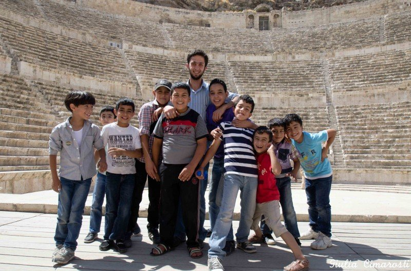 Kids and teacher at the Roman Theatre in Amman