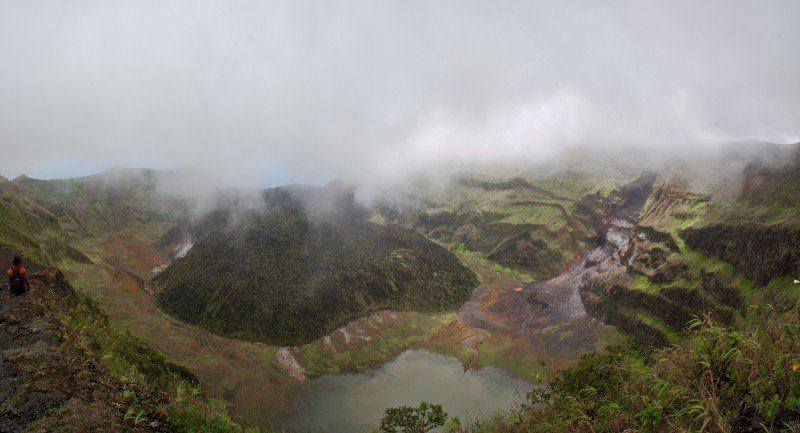 The crater of Volcano La Soufrière as seen from the summit. Click to enlarge and you'll see an old lava spill on the right, steam on the bottom left, a lake in the crater (how huge is that?) and the sea at the back!