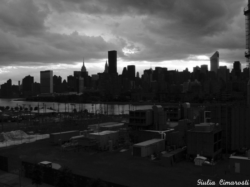 Dark New York City skyline