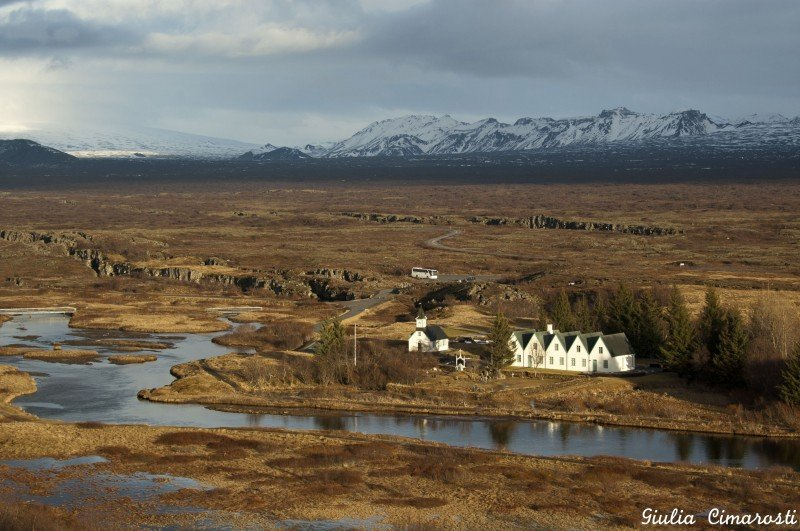 The Þingvellir National Park, with the two canyons formed by continental drift