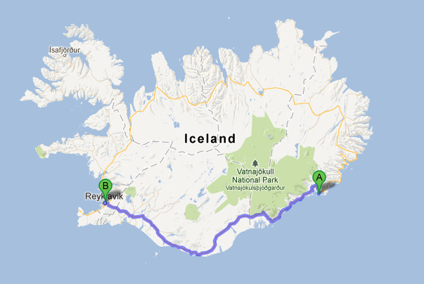 Our journey: A to B (Höfn to Reykjavik)