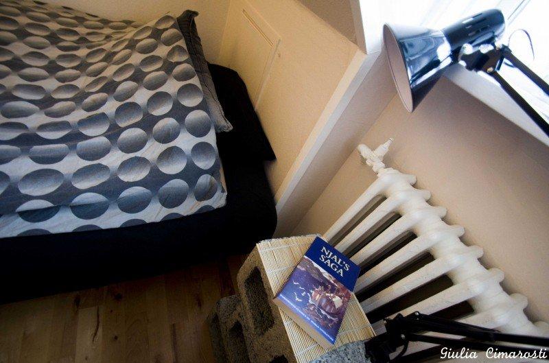 My bedroom in Reykjavik (notice the Saga book!)