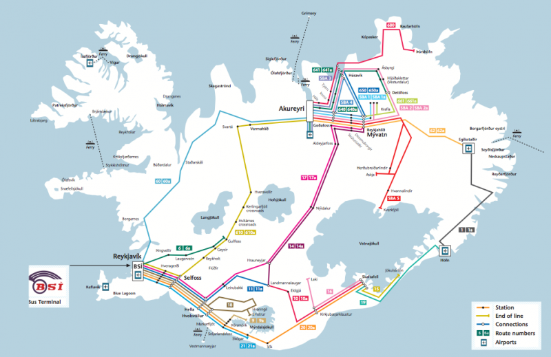 Iceland on your own: bus routes in Iceland