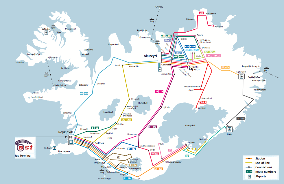Iceland On Your Own Bus Routes In Iceland TravelReportagecom - Airports in iceland