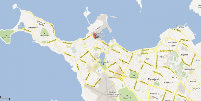 The location of Nylendugata Street in Reykjavik