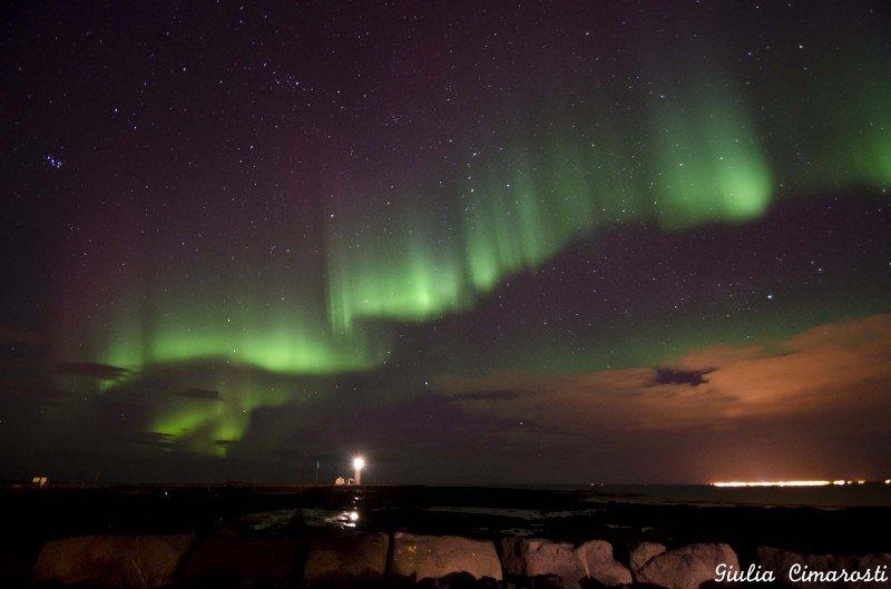 Northern Lights at Grotta Lighthouse, Reykjavik