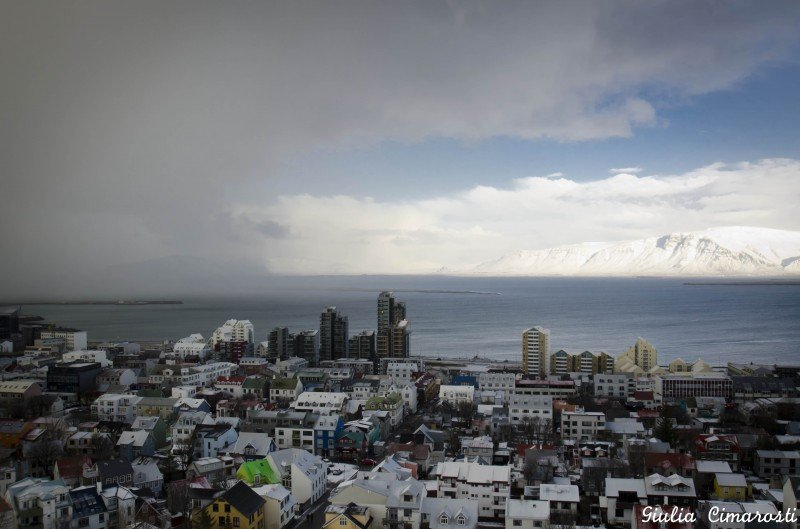 The weather in Reykjavik: stormy and sunny at the same time!