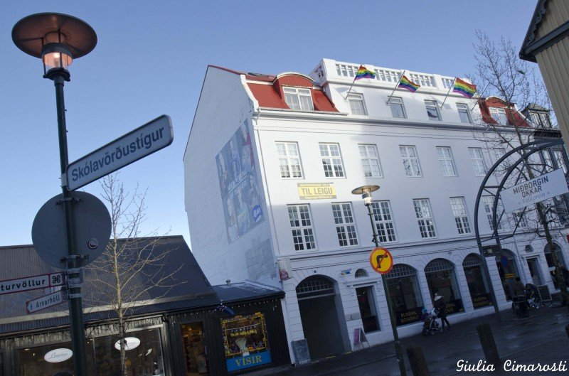 Laugavegur, the main street of Reykjavik, with the rainbow flags