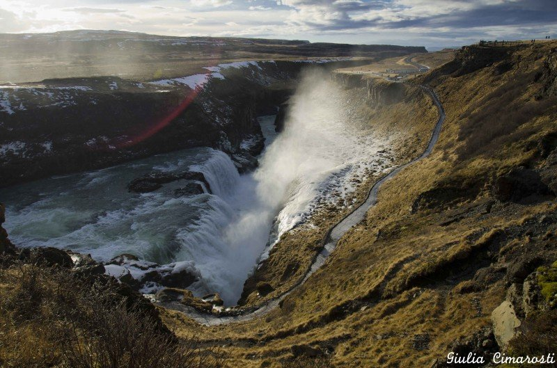 The Gullfoss waterfalls. Want to walk down that path in the winter? At your own risk!