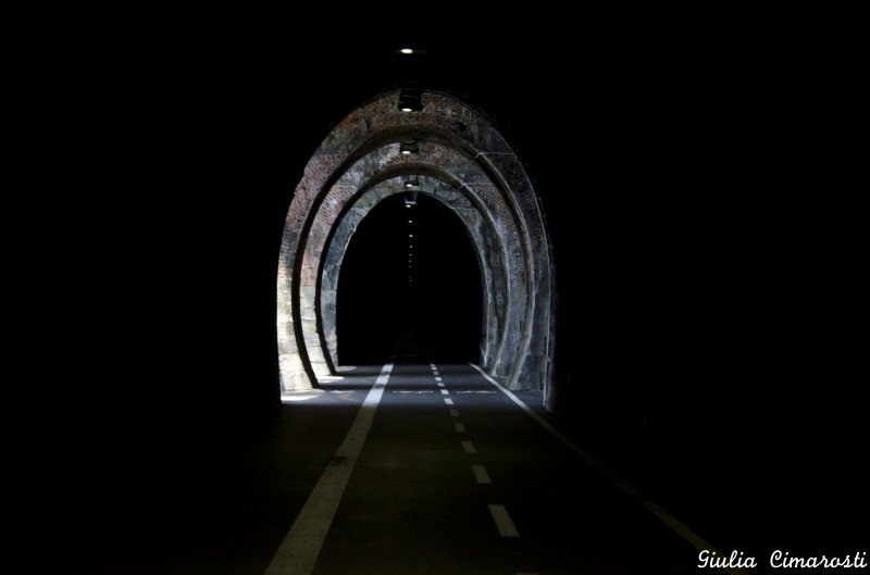 The old railway tunnel, now a unique cyclable path