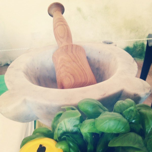 The mortar and basil, ready for the Pesto competition!