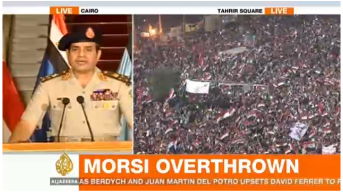 General Al-Sisi giving his speech to the nation on Jul 3rd, 2013