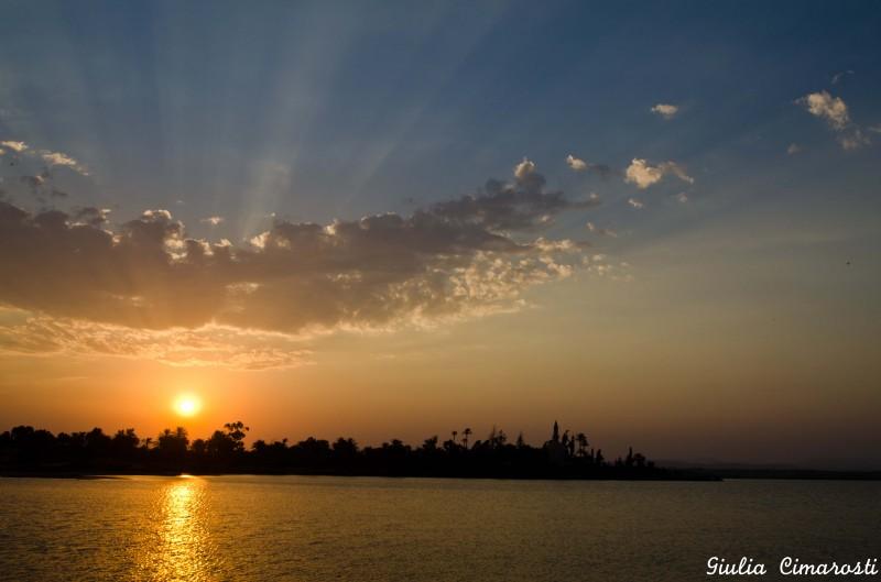 The Larnaca Salt Lake at sunset