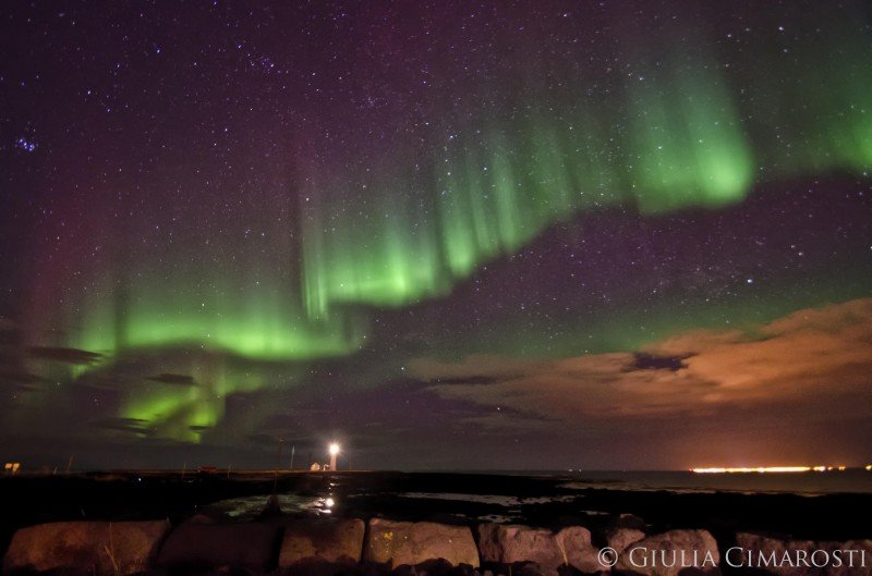 Curtain shaped Northern Lights in Iceland