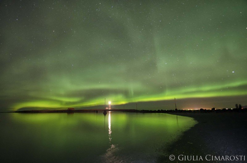 Northern Lights reflection in the sea