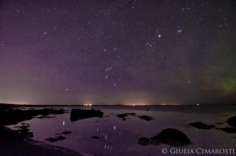 Starry sky and aurora