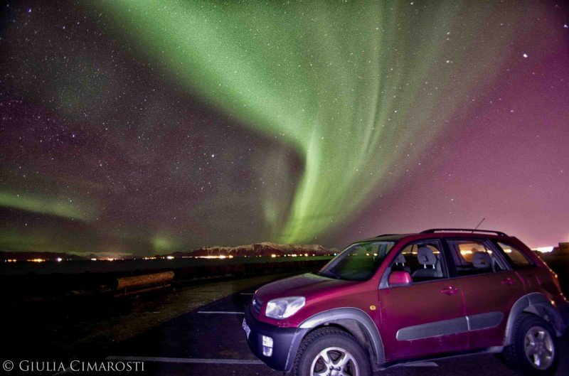 My car and the Northern Lights in Reykjavik