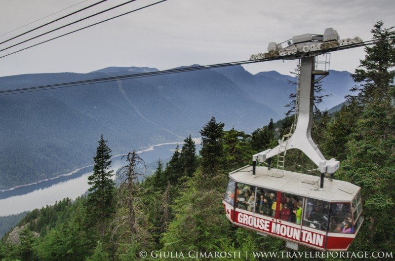 The epic views from the Grouse Mountain cable car. Yes you DO want to ride it!