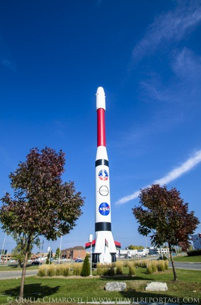 The rocket outside of the Cosmodome in Laval