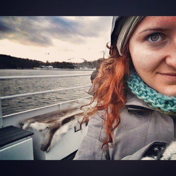 Me, freezing my beep off on the boat tour, and a reindeer fur in the background. To avoid freezing your beep off! #BalticTR