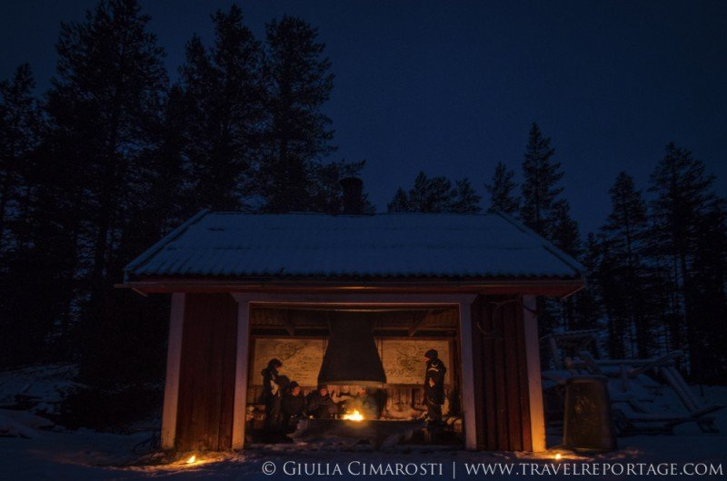 Our shelter in the Swedish Lapland wilderness