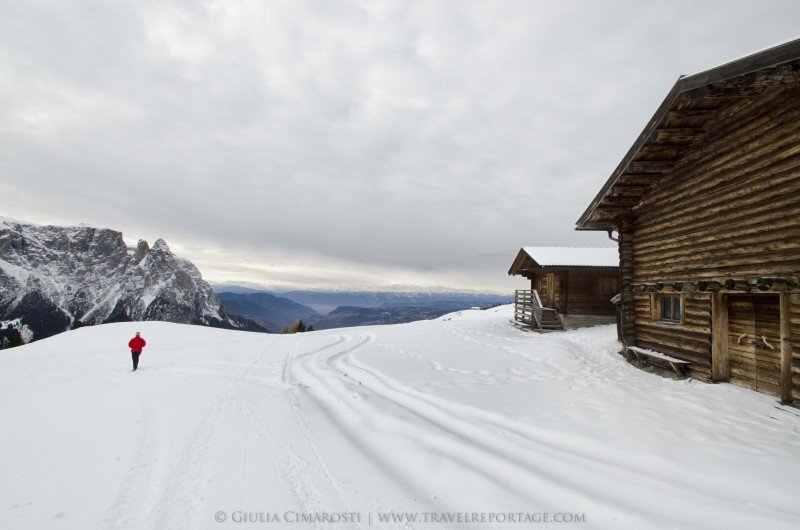 Sledding down the Sciliar Plateau - Dolomites Italy