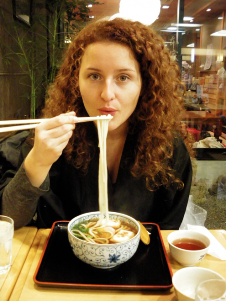 Eating noodles in Kyoto, Japan