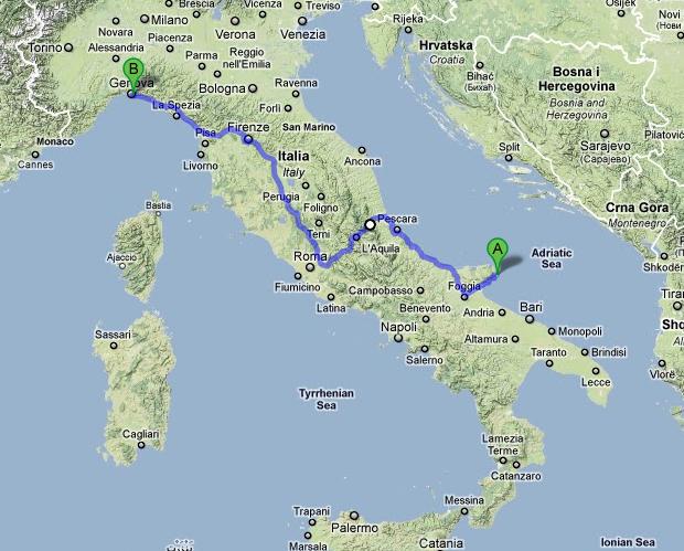 Apulia to Genova
