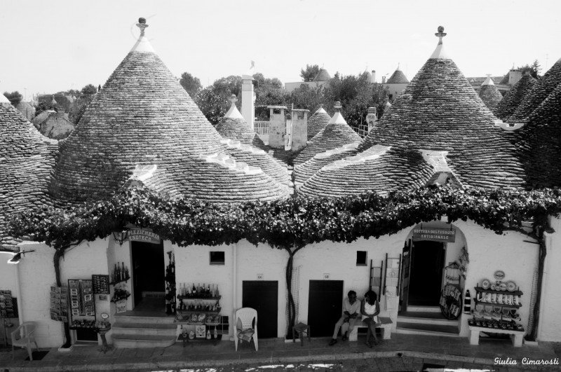 Trulli of Alberobello b/w