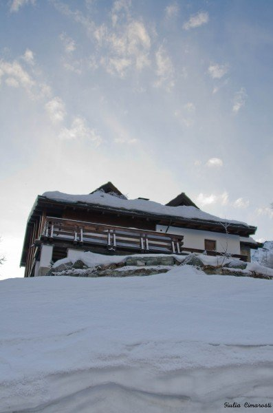 A house that looks like it's built on snow, Cervinia, Italy