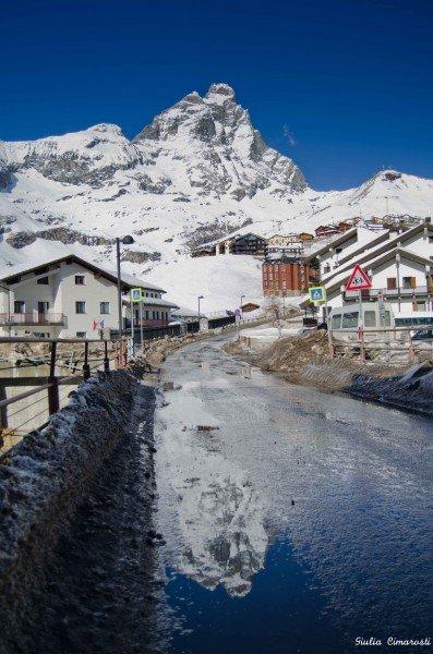 Cervinia, Cervino Matterhorn reflected in water