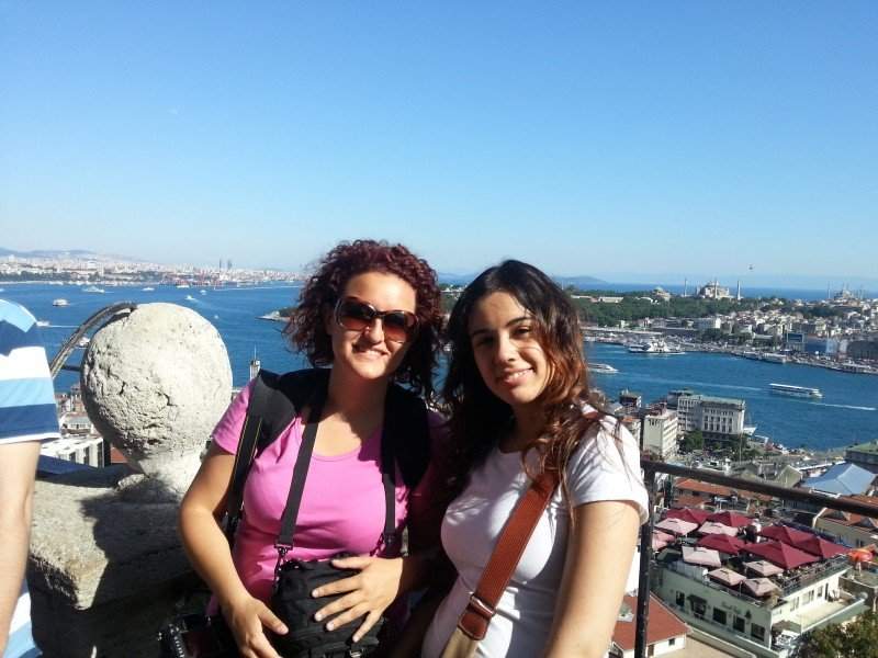 On the top of Galata Tower: here is me with my new friend Ece who showed me around the area!