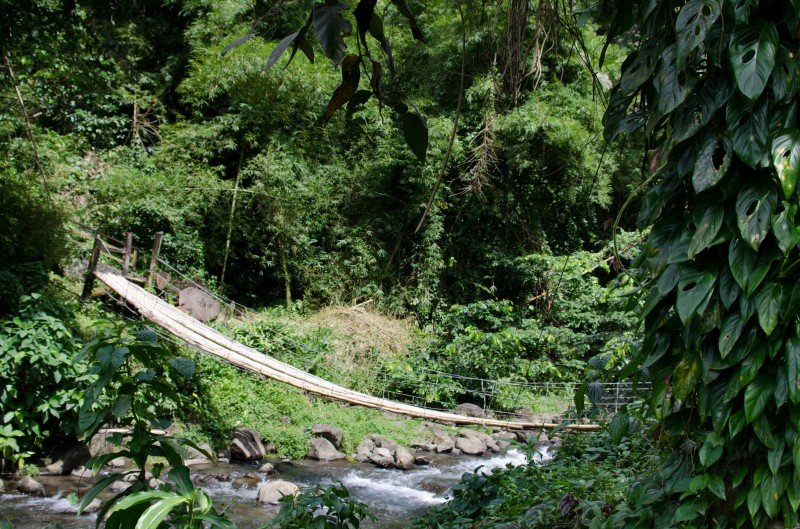 One of the most adventurous things I've done in my life: crossing this straw bridge to see the waterfalls! It took me forever.