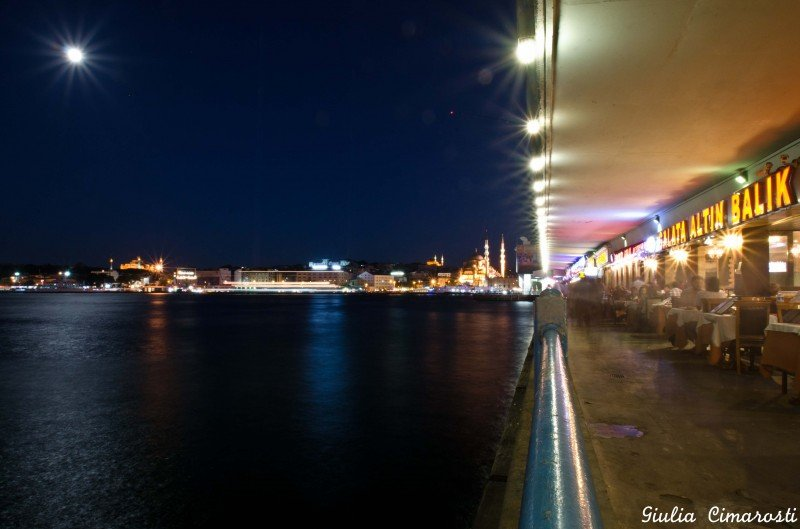 Galata Bridge by night, Istanbul