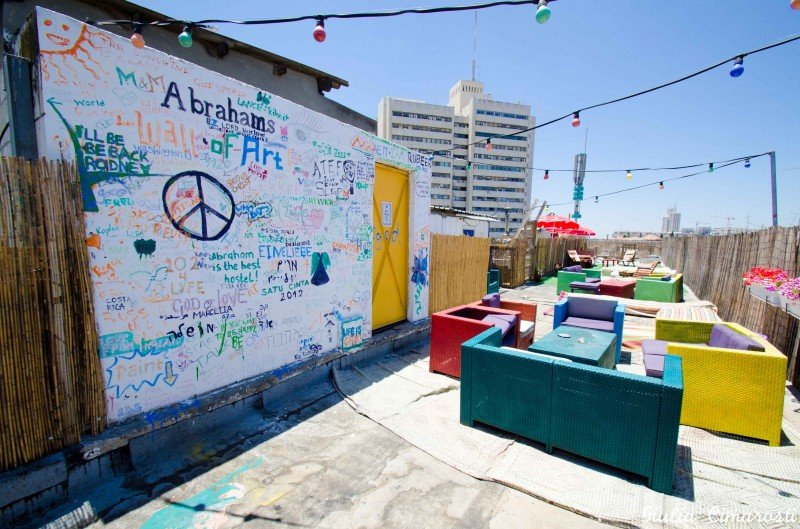 The rooftop at Abraham Hostel, Jerusalem