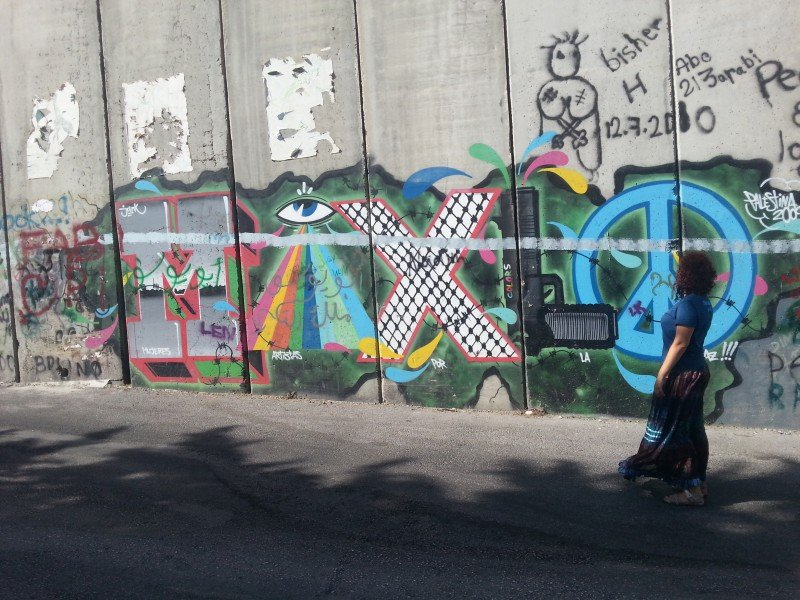 Me and the separation wall in Bethlehem, Palestine