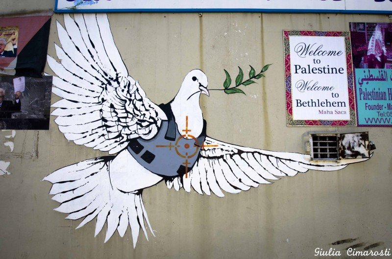 Banksy's dove, welcome to Bethlehem