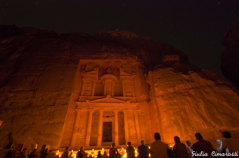 Petra by night: candlelight and stars