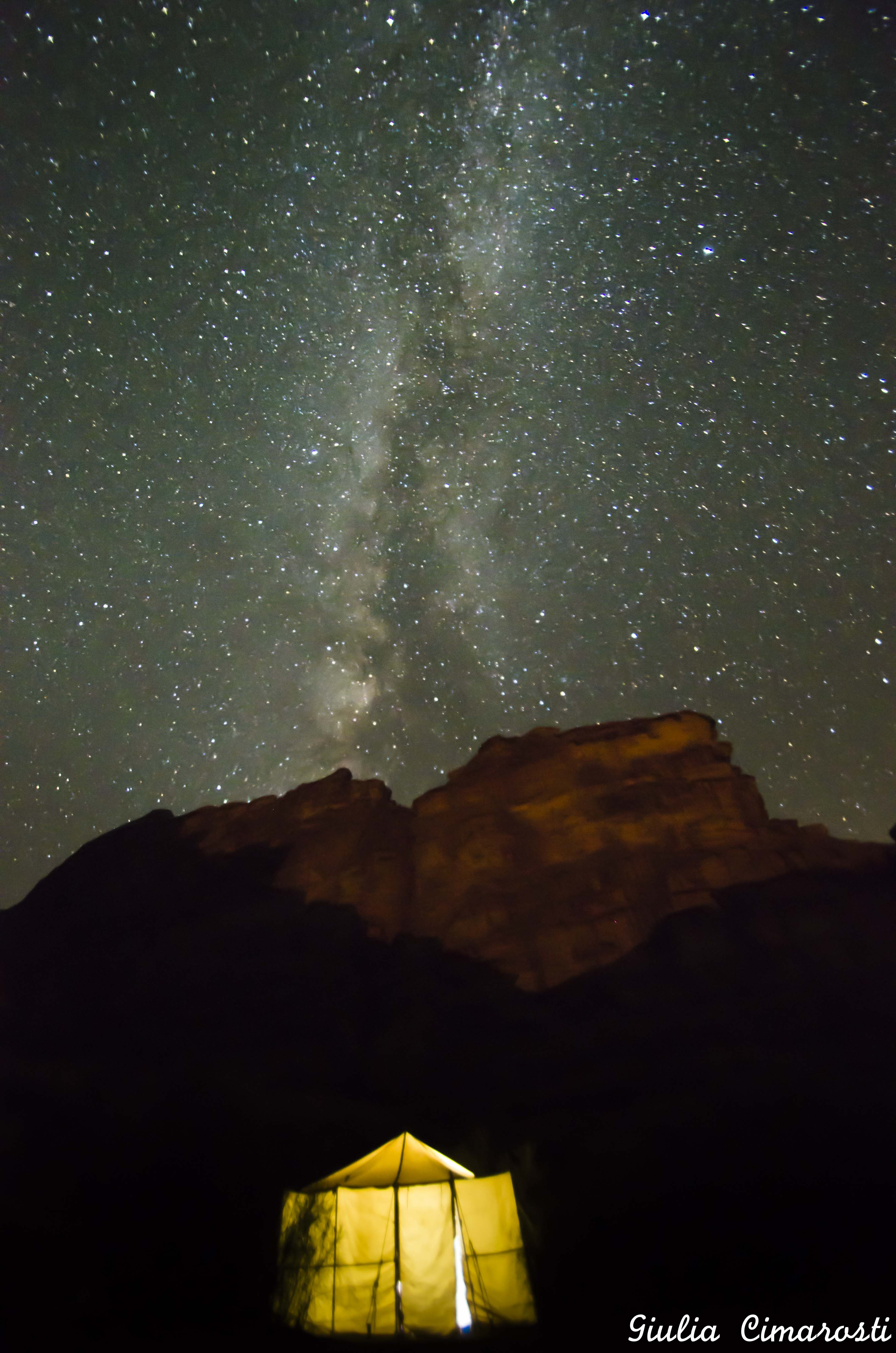 Wadi Rum: my tent and the Milky Way above