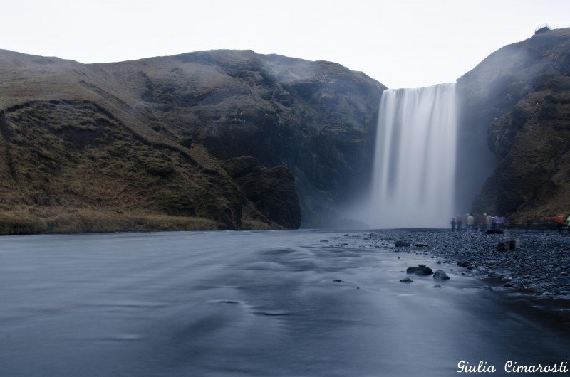 Skógafoss after sunset