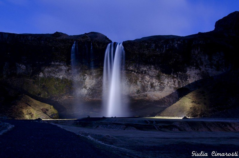 Seljalandsfoss after sunset