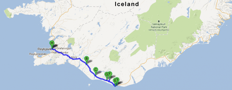 The journey from Reykjavik to Vik and the stops in between